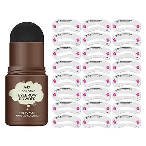 Eye Brow Stamp - Kit de plantilla de maquillaje en polvo para cejas reutilizable Kit de estampado y modelado de cejas de un paso Impermeable para profesionales y principiantes