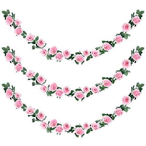 Aneco 3 Pack 22.6 Feet Pink Artificial Rose Garlands Fake Rose Vine Artificial Flowers Plants for Wedding, Party, Garden, Wall Decor