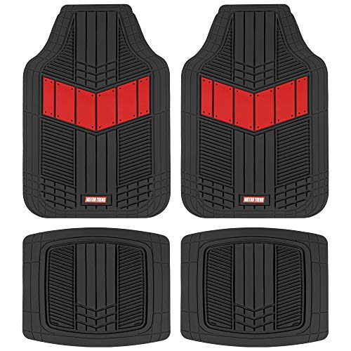DualFlex Two-Tone Rubber Car Floor Mats for Automotive SUV Van Truck Liners - Channel Drainer All Weather Protection