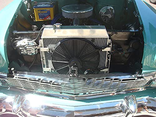 Radiador de aluminio de 62 mm + ventilador para Chevro-let Nomad Bel Air Chevy Small Block 150/210 SBC V8 Turbo Fire 4.3/4.6L 265/283cu 1955 1956 1957