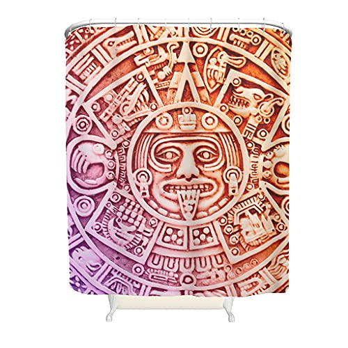 Knowikonwn Cortina de ducha antigua Inca Maya, de lujo, reforzada, ojales con anillas, para ducha/bañera, 150 x 180 cm