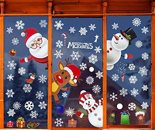 LYworld Weihnachtsmann an Weihnachten Fensterdeko Fensterbilder Winterlandschaft Weihnachtsmann Weihnachtselche Wandtattoo Schneemann Elch