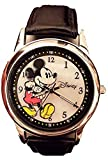 Disney Women's Watch MK1089 Mickey Mouse Black Genuine Leather Strap