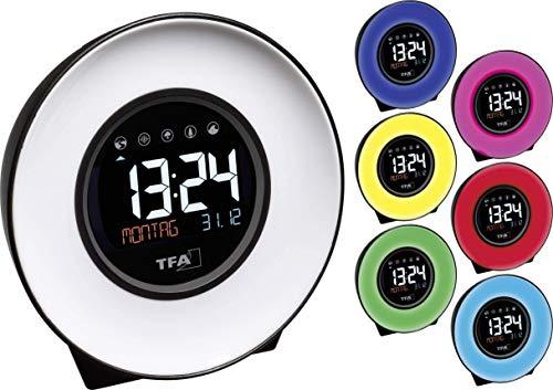 TFA Dostmann Mood Light Licht-Wecker, mit Naturgeräuschen, Kunststoff, weiß/schwarz, L210 x B97 x H195 mm