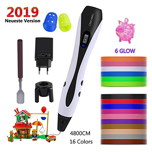 OneAmg Stylo 3D Stylo d'impression 3D Professionnel Pen Set avec écran LCD, 3D Printing Pen 3D Stylet +16 Multicolores Filament PLA,...