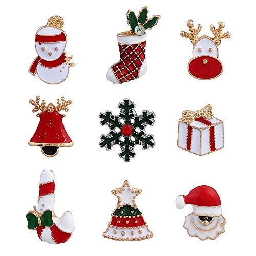 F.lashes Emaille Metall Brosche Anstecknadel Anstecker Pins Set Niedliches Revers Pin Weihnachten Thema Brosche Set Dekorationen Geschenk