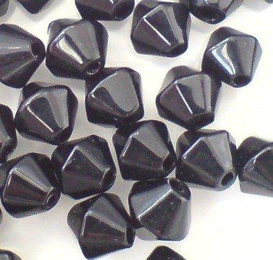 200 perline bicono in vetro A2408, nere, 4mm
