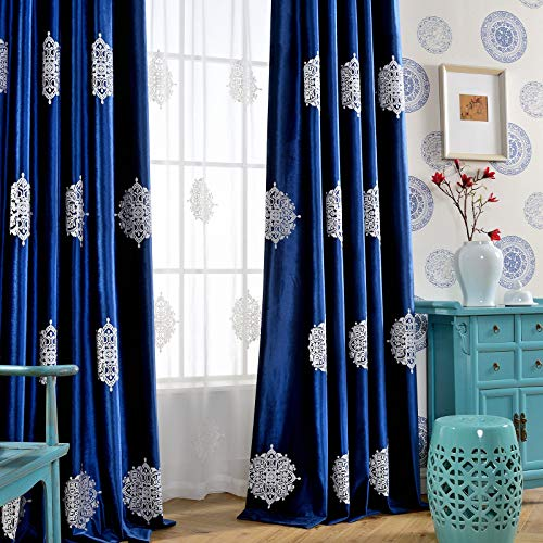 Leeva Elegant Blue Curtains for Living Room, Vintage European Embroidery Medallion Blackout Home Decor Window Curtain for Dining Room and Nursery, Set of 2 Panels, 52x84