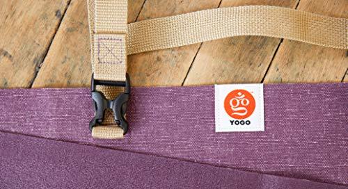 Yogo Tapis de Yoga ultraléger Voyage, Pliage avec des Sangles intégrées et poignée pour Transporter et Lavage (Prune-Lin)