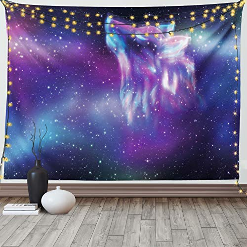 Ambesonne Fantasy Tapestry, Psychedelic Northern Starry Sky with Spirit of a Wolf Aurora Borealis Display, Wide Wall Hanging for Bedroom Living Room Dorm, 60' X 40', Purple Blue