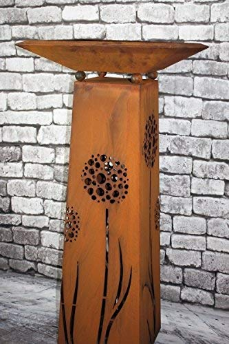 Rostikal | Pflanzsäule Pusteblumen mit Schale eckig 50 x 50 cm | Gartensäule aus Metall | 1,15 m hoch