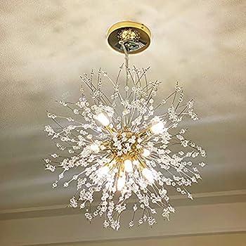 Yasince Gold Crystal Chandeliers,9-Light Modern Dandelion Firework Pendant Lighting,G9 Chandelier Light Fixtures for Dining Room Bedroom Living Room Restaurant Kitchen Aisle Girls Room Lights