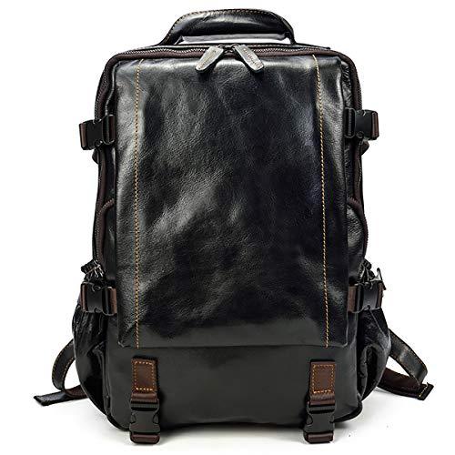 Zaino in vera pelle vintage da uomo Zaino casual da viaggio Zaino zainetto per scuola di viaggio all'aperto (Black)