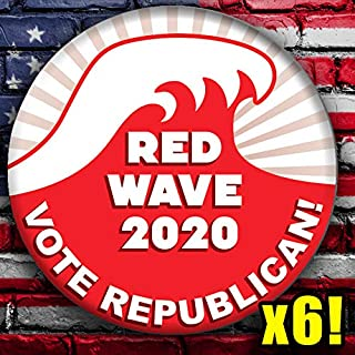 NOVEMBER RED WAVE 2020 Version 2! Vote Republican 6 Button Pack! Election Badges! Six GOP Conservative Pins!