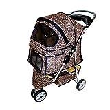 Hundewagen Hundebuggy Pet Hunde Buggy Stroller Jogger Anhänger, Kinderwagen für Mittelgroße Hunde bis 20 kg, Hund Katze Kinderwagen Easy Folding Stahlrohrrahmen (Color : Leopard Print)