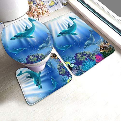 kglkb 3-Piece Non-Slip Bath Mat Set Underwater World Dolphins Plants Non-Slip Pads Bath Mat + Contour + Toilet Lid Cover The Best Choice for Bathroom Decoration
