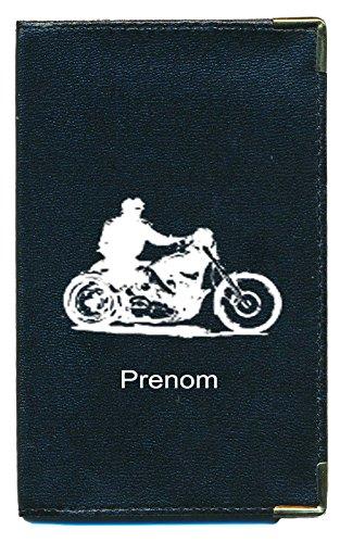 Pochette Etui Protection Porte Carte Grise - papiers Voiture - permis de Conduire Moto Style Harley personnalisé avec prenom ou surnom