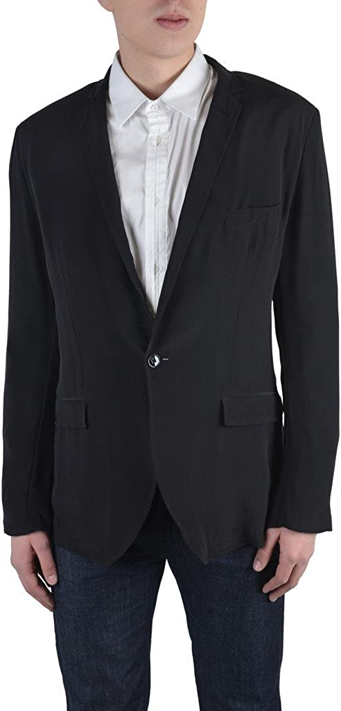 Dolce & Gabbana Men's Black 100% Silk One Button Blazer
