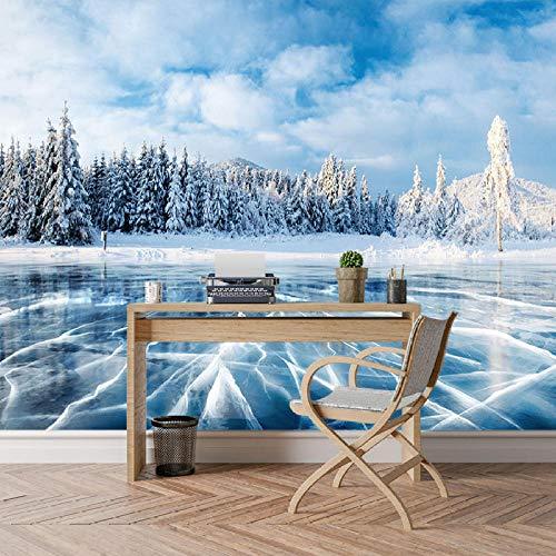 Mrlwy Fondo de pantalla 3D personalizado Invierno Frozen Lake Ice and Cracks Hills Pines Blue Sky Fondos de pantalla para 3 d Living Room Wall Paper-250X175CM