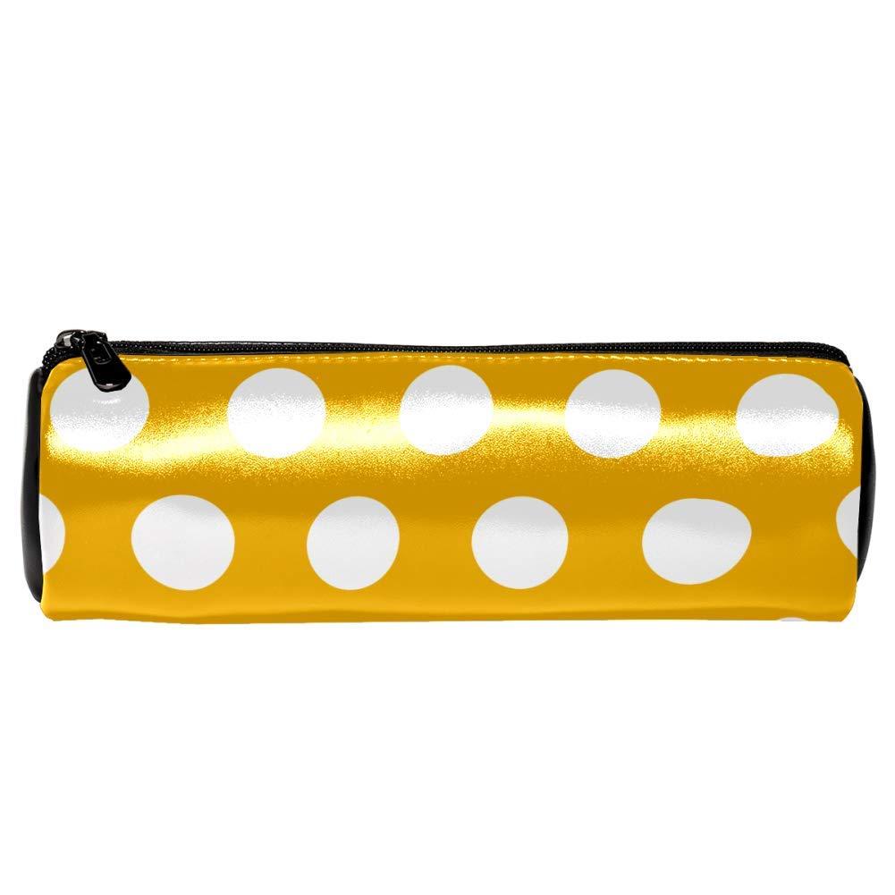 EZIOLY - Estuche de piel para lápices, color blanco, diseño de lunares, color amarillo: Amazon.es: Oficina y papelería
