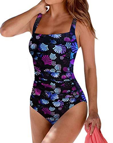 Upopby Women's Vintage Tummy Control One Piece Swimsuits Monokini Printed Plus Size Swimwear Bathing Suits Firework 14