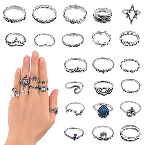 TUPARKA 31Pcs Vintage Punk Rings...