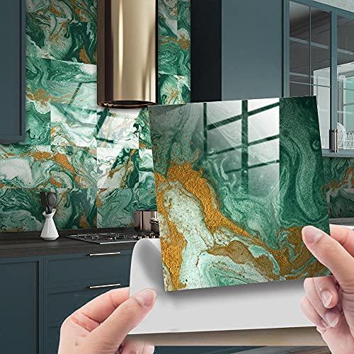 Azulejos Adhesivos Baño Cocina Mármol Verde 10 Vinilos Cocina Azulejos Vinilos Para Baños Losetas Vinilo para Paredes Suelo Vinilo Autoadhesivo para Cocina