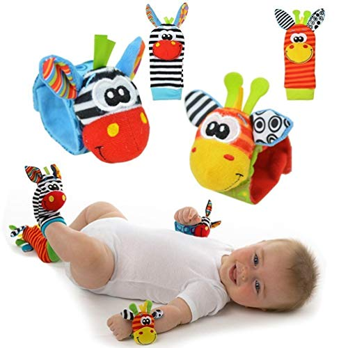 Baby Rattle Toy – Cute Animal Infant 4 (2 Waist and Socks) Soft Wrist Strap Rattles & Foot Finder Set Soft Development Toy for Children, Colourful by Funky Planet