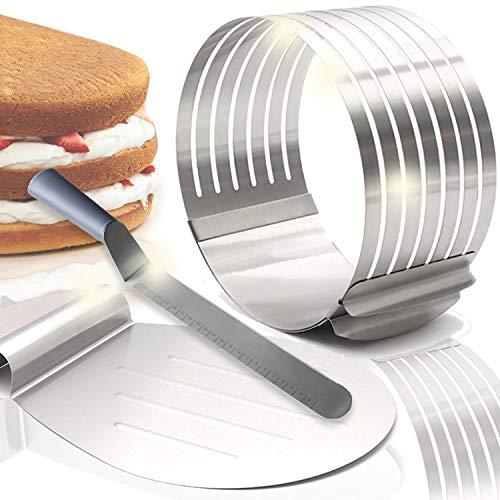 Smart-Planet Juego de 3 piezas de acero inoxidable para tartas, 23 – 30 cm de diámetro, paleta para cortar tartas, ayuda para cortar la base de la tarta
