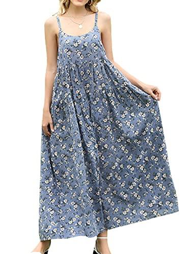 YESNO Women Casual Loose Bohemian Floral Print Dresses Empire Waist Spaghetti Strap Long Maxi Summer Beach Swing Dress XL E75 CR08