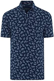 Tarocash Men's Madrid Print Polo Long Sleeve Fit Sizes XS-5XL for Going Out Smart Casual
