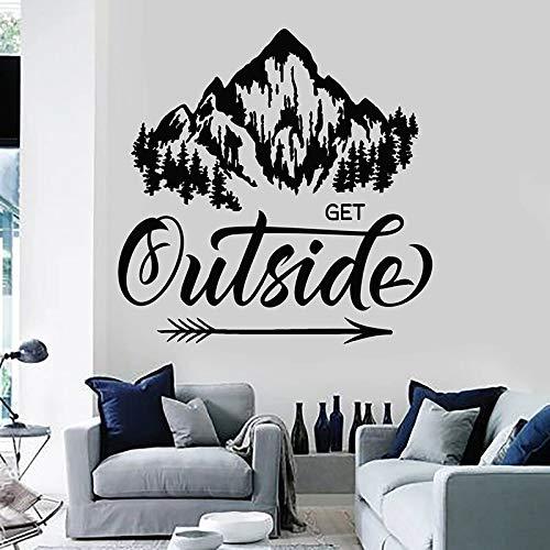 HGFDHG Recibir pegatinas de pared exterior frases inspiración paisaje natural montaña murales vinilo pegatinas dormitorio sala de estar hogar decoración arte