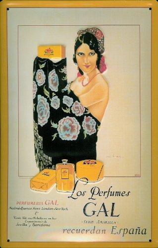 Los Perfumes GAL - Cartel de chapa de metal, 3D, curvado, 20 x 30 cm