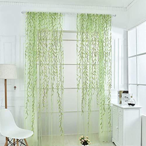 Tonsee Transparent Voile Gardinen Mode Patchwork Streifen Durchsichtig Vorhänge mit Ösen für Wohnzimmer Schals Schlafzimmer Vorhänge Kinderzimmer Dekoschals 1 PCS,270cm x 100cm (Style2-Grün)