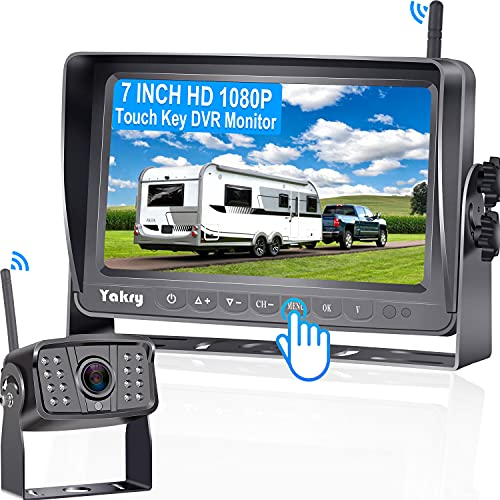 Yakry Y27 HD 1080P Wireless Backup Camera with 7 Inch DVR Monitor IPS Split Screen High-Speed Rear View Observation System for RVs,Trailers,Trucks,Fifth Wheels IR Night Vision Stable Digital Signals