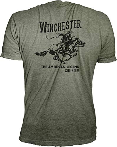 Winchester Official Men's Vintage Rider Graphic Printed Short Sleeve Cotton T-Shirt (2XL, Military Heather)