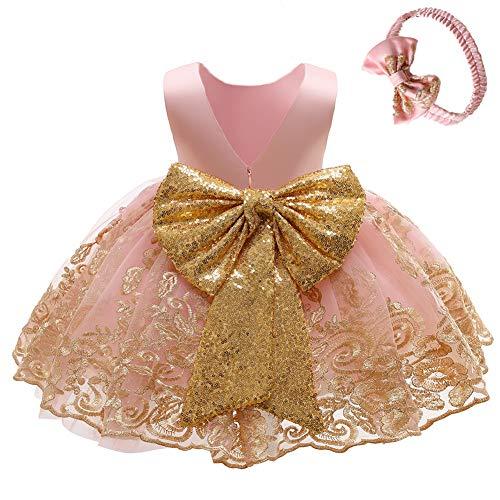 FYMNSI Vestido de fiesta para bebé, para cumpleaños, bautizo, sin espalda, bordado, sin mangas, formal, con cinta para la frente. Rosa. 3-4 Años