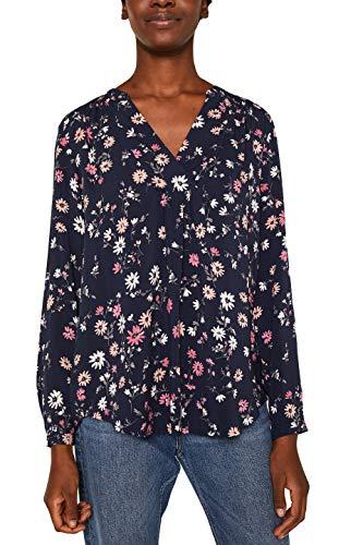 ESPRIT Damen 119EE1F001 Bluse, Blau (Navy 400), (Herstellergröße: 40)