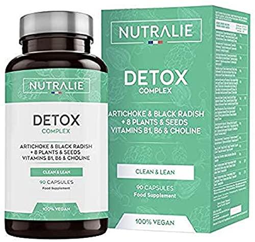 NUTRALIE Detox Potente Hígado, Plan Detox Adelgazante y Diurético Vegano, Cleanser para Eliminar Toxinas con Alcachofa, Rábano Negro, Vitaminas y +8 Plantas y Semillas, 90 Cápsulas Veganas