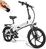 Folding Electric Bicycle 20 Inch Bike with 350W 48V Motor 10.4AH Removable Lithium Battery Remote Control System Shimano 7 Speeds Support USB Charging for Mobile Phones for Women Men [EU STOCK]