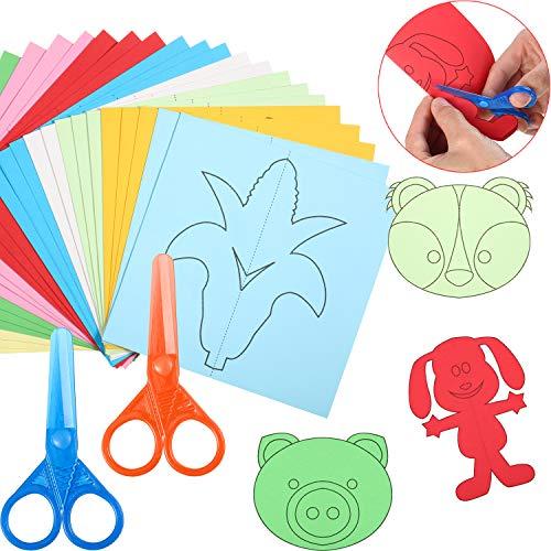 300 Páginas Papel Cortando de Actividad de Habilidades de Tijera Corte de Papel de Práctica de Tijera Kit de Manualidades de Tijeras de Niños para Preescolar Niños Niñas
