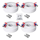 ZOSI 4 Pack 100ft (30 Meters) 2-in-1 Video Power Cable, BNC Extension Surveillance Camera Cables for Video Security Systems (Included 4X BNC Connectors and 4X RCA Adapters) -White Color