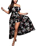 BIUBIU Women's Off Shoulder Floral Rayon Party Split Maxi Romper Dress S-3XL
