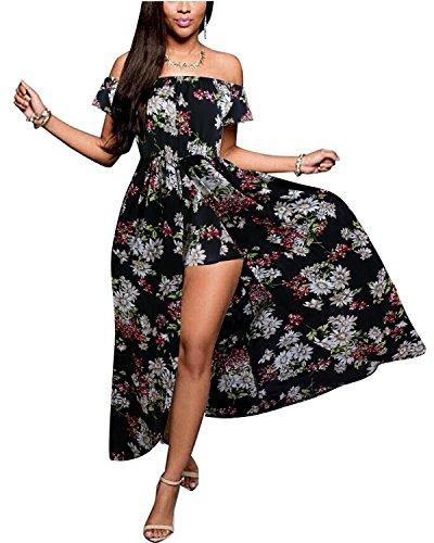 BIUBIU Women's Off Shoulder Floral Rayon Party Maxi Split Romper Dress Black XL