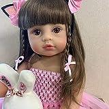 YIHANGG Muñeca Realista De 55 Cm Reborn Tamaño Real Original Bebe Niña Pequeña Princesa Rosa Juguete De Baño Muñeca Realista De Silicona De Cuerpo Completo Muy Suave