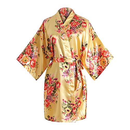 WFRAU Frauen Blossom Print Lose Kimono Bademantel 3/4 Ärmel Japanischen Stil Bademantel mit Gürtel Damen Midi Nachthemd Weiche Gemütliche Robcoat Nachthemd Dessous