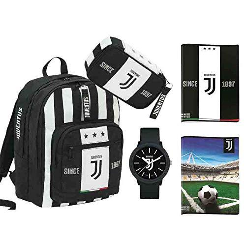 Zaino Juventus bambino scuola elementare ufficiale 2019 Seven 6B6001909 coordinato zaino organizzato astuccio quick case completo omaggio orologio gadget + 3 quaderni Juve
