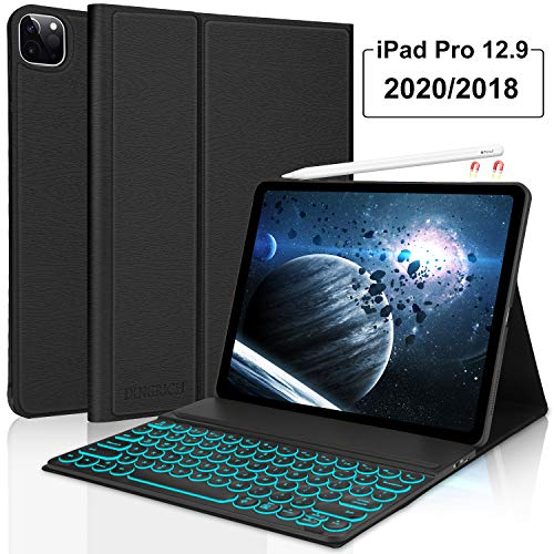iPad Pro 12.9 2020/2018 Keyboard Case 4th Generation 7 Color Backlit Wireless iPad Keyboard [Support Apple Pencil Charging] - Slim Leather Cover for Apple iPad Pro 12.9 2020 Black