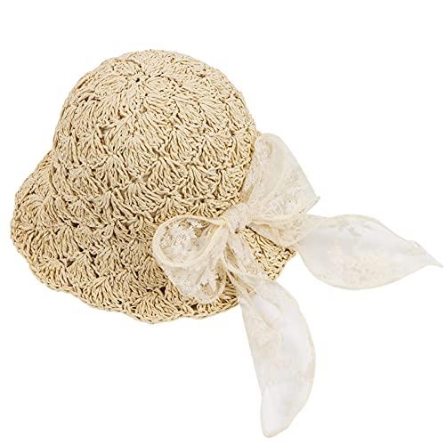 DICK DOCK 子供用 ベビー 麦わら帽子 リボン 碟結び 日よけ 海 おしゃれ アウトドア 折りたたみ可 通気性よく 紫外線対策 ビーチ帽子 お出かけハット UV対策 可愛い帽子 熱中症対策 軽量 夏 旅行 ビーチキャップ (リボン(茶色), 53CM, l_l)