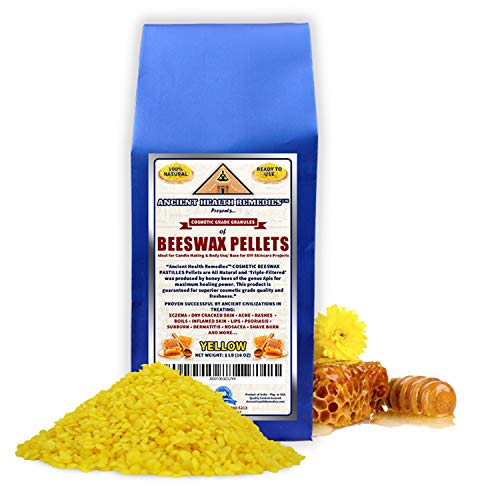 All Natural, Cosmetic Grade YELLOW BEESWAX PELLETS PASTILLES 1 LB (16 oz) Best Price Highest Quality, Triple Filtered Ideal for DIY Skincare, Candle Making & Lip Balms by Ancient Health Remedies